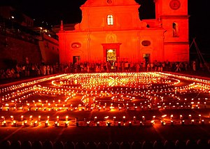 Luminaria - Praiano, Italy, Luminaria di San Domenico, August 1. Luminarias are used in seasons other than Christmas.