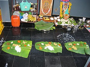 Prasāda - Prasadam offered on banana leaves after Puja ceremony at a home in Guntur, Andhra Pradesh, India