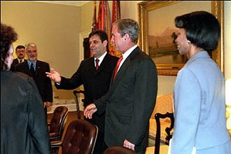 Vojislav Koštunica - President George W. Bush greets Vojislav Koštunica, then President of Yugoslavia, in the White House.