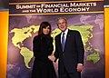 President Bush welcomes Argentina President Fernandez de Kirchner to the Summit on Financial Markets.jpg