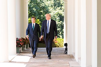 Moon Jae-in - U.S. President Donald Trump welcomes President Moon on 30 June 2017, in the White House Rose Garden