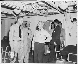 USS Augusta (CA-31) - President Harry S. Truman tours Augusta, the ship that will take him to Europe to attend the Potsdam Conference in Germany. He and Commander C. L. Freeman are in the wardroom. (National Archives and Records Administration)