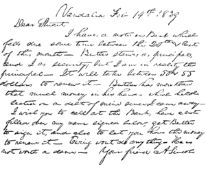 English: Facsimile of a letter from Abraham Li...