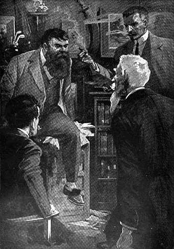 Professor Challenger (seated) as illustrated by Harry Rountree in Doyle's novella The Poison Belt in The Strand Magazine Professor Challenger.jpg