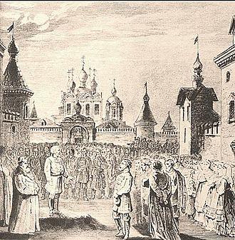 The Maid of Pskov - The Veche Scene by Matvey Shishkov, design for the premiere