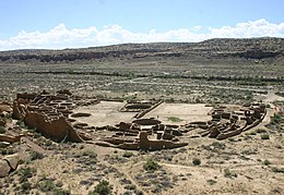 Pueblo Bonito, Chaco Cultural National Historical Park, from a nearby overlook in summer 2011.jpg