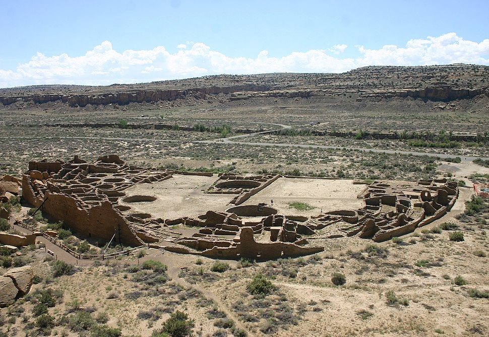 Pueblo Bonito, Chaco Cultural National Historical Park, from a nearby overlook in summer 2011