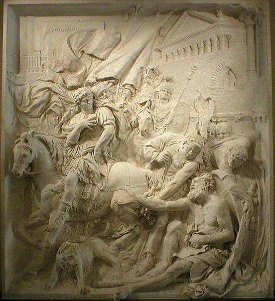 (* Bas-relief en marbre (env 4m x 3m) * La rencontre d'Alexandre et de Diogène de Sinope * Pierre Pujet, vers 1680, Musée du Louvre