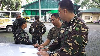1051st Technical & Administrative Services Unit (Ready Reserve) - Cpt Carlo Antonio Bernabe discuss operational plans with the staff.