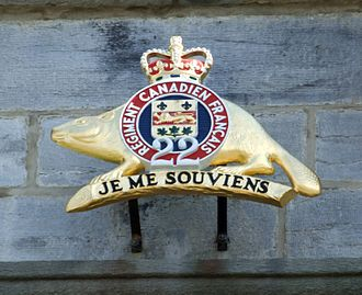 The Canadian Crown and the Canadian Armed Forces - The emblem of the Royal 22<sup>e</sup> Régiment at the Citadelle of Quebec, with a St. Edward's Crown atop. Badges and emblems throughout the Canadian Forces depicts an image of the crown.
