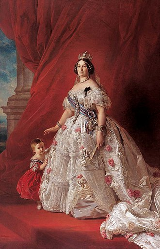 Isabella II of Spain - Queen Isabella II of Spain with her daughter Isabella by Franz Xavier Winterhalter, 1852