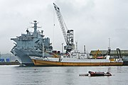 RFA Argus and Odyssey Explorer in Falmouth Docks on 2009-08-14