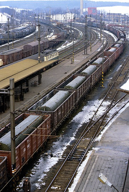 (1988) A Soviet train with SS-12 Scaleboard medium-range ballistic missiles ready to leave for the Soviet Union from Czechoslovakia's Hranice na Morave railroad station RIAN archive 478718 A Soviet missile train.jpg