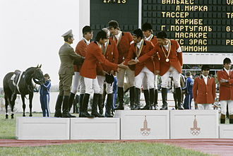 Equestrian at the 1980 Summer Olympics - Polish and USSR Jumping riders congratulate each other after their medal-winning performances.
