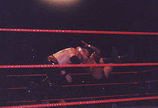 Randy Orton performing his RKO finisher (Jumping cutter) on Kane