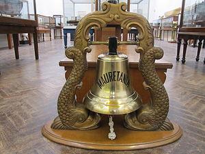 RMS Mauretania ship's bell, Williamson Art Gallery.jpg