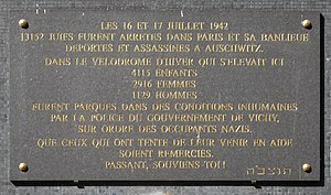 Vel' d'Hiv Roundup - Commemorative plaque to the 8,160 victims held in the Vel' d'Hiv after the 16–17 July 1942 roundup of Jews in Paris. Inaugurated on 20 July 2008, the plaque is facing the Bir-Hakeim metro station, boulevard de Grenelle (Paris 15th arrondissement), a few meters from where the Vel d'Hiv used to be.