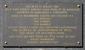 Français : Rafle du Vel d'Hiv, jardin du souve...