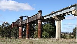 Blayney–Demondrille railway line - Bridge over the Lachlan River, opened in 1887.
