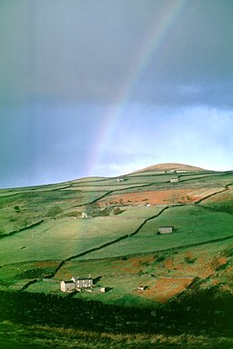 Rainbow over Wood House, Arkengarthdale - geograph.org.uk - 1221674
