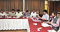 Ramdas Athawale chairing the review meeting with the senior officers of Telangana government on the schemes of the Ministry of Social Justice and Empowerment, in Hyderabad.JPG