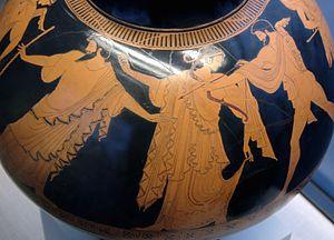 Idas - Marpessa and Idas, separated from Apollo by Zeus, Attic red-figure psykter, ca. 480 BC, Staatliche Antikensammlungen (Inv. 2417).