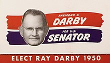 Card for the Darby for Senator campaign, showing Darby's face