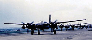 Sembach Kaserne - Night Reconnaissance Douglas A/B-26C-45-DT Invaders of the 30th Tac Recon Squadron on the taxiway, Sembach Air Base, 1953