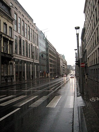 Brussels and the European Union - The Wetstraat/Rue de la Loi (pictured, 2009) is set to be rebuilt with taller and more open buildings.