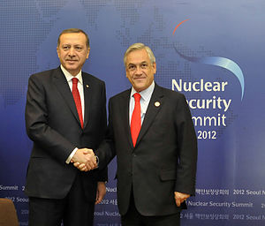Foreign policy of the Recep Tayyip Erdoğan government - Prime Minister Erdogan and Chilean President Sebastián Piñera in Nuclear Security Summit,  March 2012.