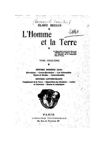 File:Reclus - L'Homme et la Terre, tome V, Librairie universelle, 1905.djvu