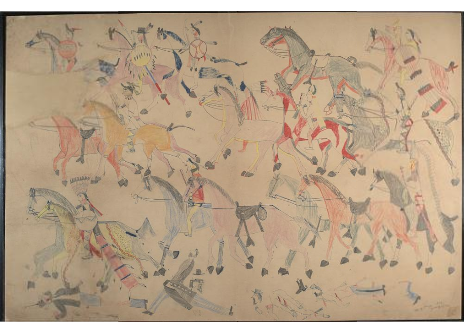 Red Horse pictographic account of the Battle of the Little Bighorn, 1881. 0700