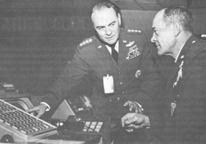 Raymond J. Reeves - As Commander in Chief, North American Air Defense Command (left), explaining his command post to Gen. Joseph J. Nazzaro, Commander in Chief, Strategic Air Command, 1967.