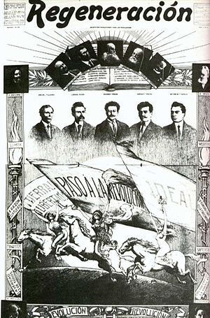 Magonism - Cover of Regeneración, with portraits of the organizing board of PLM and European anarchists (1910)