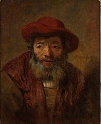 Rembrandt - Portrait of an old man with a beard and a red hat - given by Hofstede de Groot.jpg