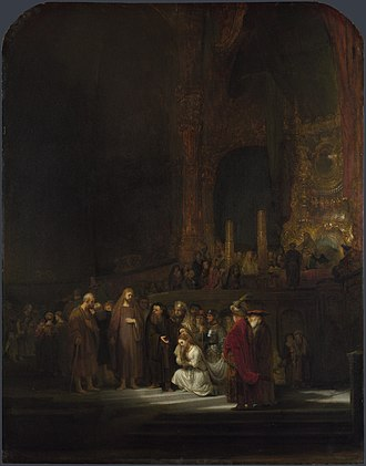 Johannes de Renialme - Christ and the Woman Taken in Adultery (1644) by Rembrandt, oil on panel, 83.8 x 65.4 cm, National Gallery, London, from the 1957 death inventory