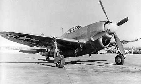 Republic XP-47J three-quarter front view