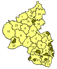 carte des arrondissements en Rhénanie-Palatinat