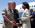 Rice speaks with troops after landing in Larnaca July 24 2006.jpg
