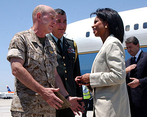 Cyprus–United States relations - United States Secretary of State Condoleezza Rice speaks with United States Marine Corps Brig. Gen. Carl Jensen in Larnaca, Cyprus