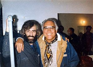 Bob Cato - Cato with Richard Manuel of The Band, backstage at the Beacon Theater in New York, November 26, 1983.