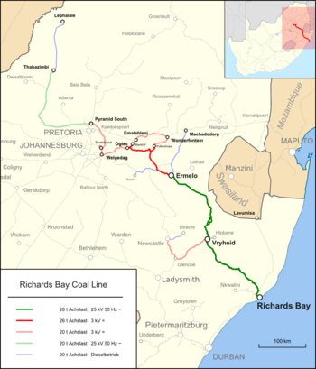 Strecke der Richards Bay Coal Line