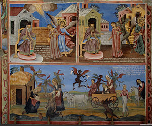 Witchcraft - A painting in the Rila Monastery in Bulgaria, condemning witchcraft and traditional folk magic