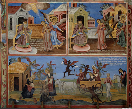 A painting in the Rila Monastery in Bulgaria, condemning witchcraft and traditional folk magic Rila Monastery wall painting.jpg