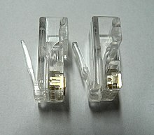 modular connector 8p8c plug contacts for solid wire left and stranded wire right