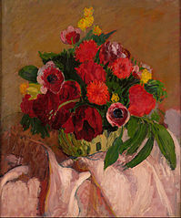 Mixed flowers on pink cloth