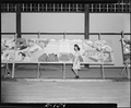 """Rohwer Relocation Center, McGehee, Arkansas. This mural depicting an """"assembly center"""" was painted . . . - NARA - 539588.tif"""