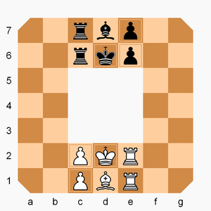 Rollerball (chess variant) - Rollerball gameboard and starting position