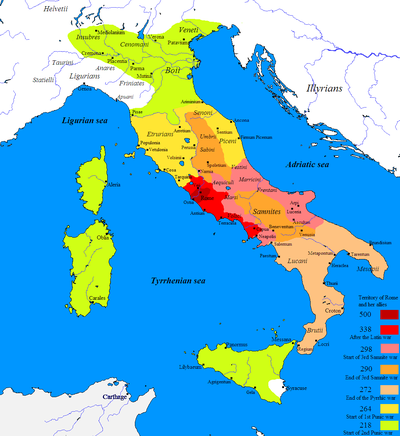 Enlargeable map showing the expansion of the Roman Republic in Italy from about 500 BC to the start of the Second Punic War in 218 BC.