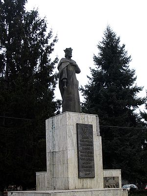 Roman, Romania - The statue of Roman I of Moldavia